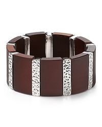 Marc By Marc Jacobs - Metallic Wood Silver Stretch Bracelet - Lyst