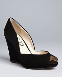 Kors by Michael Kors | Black Vail Peep-toe Platform Wedge Pumps | Lyst
