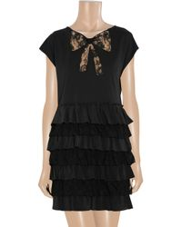 Miu Miu | Black Lace and Silk Tiered Cotton Jersey Dress | Lyst
