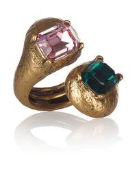 Oscar de la Renta - Metallic 22karat Gold Plated Glass Ring - Lyst