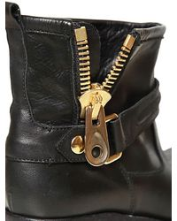 Strategia Black Leather Biker Low Boots