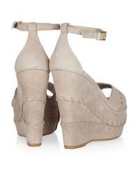 Alexander McQueen - Gray Whipstitched Suede Wedge Sandals - Lyst