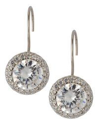 Fantasia by Deserio - Metallic Antique Round Cubic Zirconia Drop Earrings - Lyst
