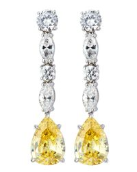 Fantasia by Deserio - Yellow Canary Cz Drop Earrings - Lyst