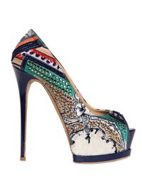 Gianmarco Lorenzi | Multicolor Embroidered Printed Satin Pumps | Lyst