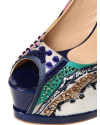 Gianmarco Lorenzi - Multicolor Embroidered Printed Satin Pumps - Lyst