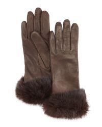 Grandoe | Brown Fur Cuff Sheepskin Gloves | Lyst