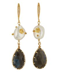 Indulgems | Multicolor Labradorite and Pearl Earrings | Lyst