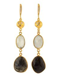 Indulgems | Black Rainbow and Moonstone Labradorite Earrings | Lyst