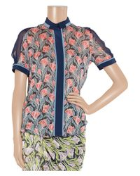 Jason Wu | Blue Sleeveless Ruffled Floral-print Top | Lyst