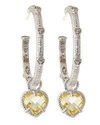 Judith Ripka | Metallic Linen Stone Drop Hoop Earrings | Lyst