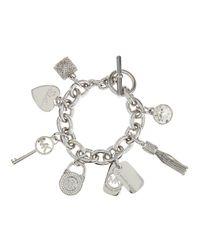 Michael Kors - Metallic Large Pave Rhinestone Charm Bracelet - Lyst