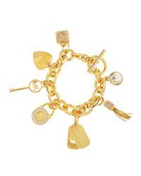 Michael Kors | Metallic Large Pave Rhinestone Charm Bracelet | Lyst