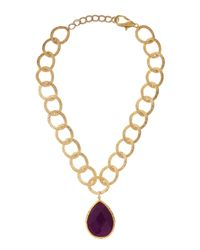 Panacea | Metallic Amethyst Teardrop Necklace Large | Lyst
