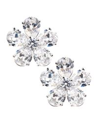 CZ by Kenneth Jay Lane | Metallic Cz Flower Earrings | Lyst