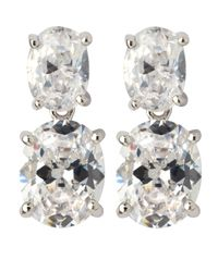 CZ by Kenneth Jay Lane | Metallic Double Oval Cz Drop Earrings | Lyst