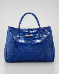 Longchamp Blue Roseau Crocodileembossed Tote Bag Indigo