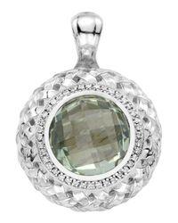 Slane - Green Amethyst-diamond Basketwoven Pendant - Lyst
