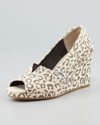 TOMS | Natural Snow Leopard Peeptoe Wedge | Lyst