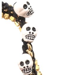 Venessa Arizaga - Black Foolâs Gold Skull Charm Bracelet - Lyst