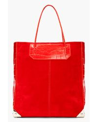 Alexander Wang | Red Croc Embossed Leather Suede Prisma Tote | Lyst