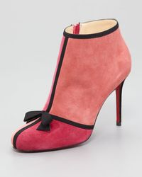 Christian Louboutin Arnoeud Grosgrainbow Suede Red Sole Ankle Boot