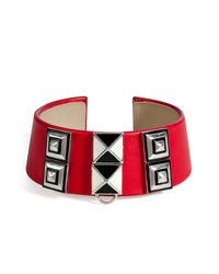 Delfina Delettrez | Red Leathersilverenamel Collar  | Lyst