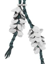 Giles & Brother - Metallic Wheat Silverplated Leather Necklace - Lyst