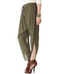 Haute Hippie - Green Draped Jersey Harem Pants - Lyst