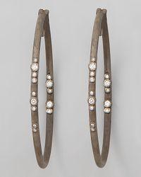 Armenta - Brown Mini Scattered Diamond Hoop Earrings - Lyst