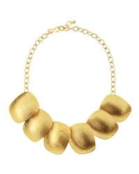 Kenneth Jay Lane - Metallic Golden Flat Disc Necklace - Lyst