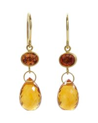 Mallary Marks - Yellow Orange Sapphire Citrine Apple Eve Earrings - Lyst