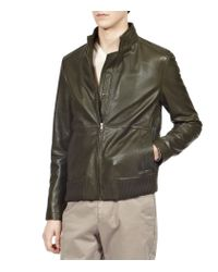 Reiss - Green Rodeo Rib Detail Zip Through Leather for Men - Lyst