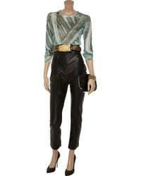 Balmain - Black High-Waisted Leather Skinny Pants - Lyst