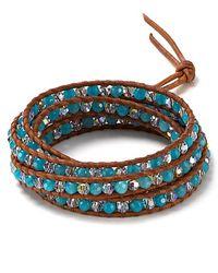 Chan Luu - September Five Wrap Swarovski Crystal and Blue Jade Leather Bracelet - Lyst