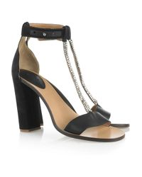 Chloé | Black Crystal-embellished Satin and Leather Sandals | Lyst