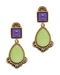 Oscar de la Renta - Green Cabachon Lace Trim Earrings - Lyst