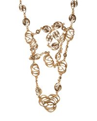 Oscar de la Renta - Multicolor Cutout Flower Triple Necklace - Lyst