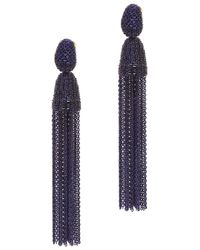 Oscar de la Renta | Blue Long Chain Tassel Earrings | Lyst