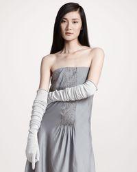 Brunello Cucinelli | Gray Long Metallic Gloves | Lyst