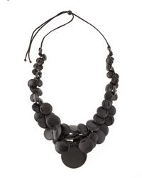 Lafayette 148 New York | Black Resin and Wood Disc Necklace | Lyst