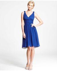 Ann Taylor | Blue Silk Georgette Knot Shoulder Dress | Lyst