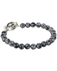 King Baby Studio - Blue Snowflake Agate Bracelet with Toggle Clasp for Men - Lyst