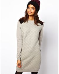 ASOS Collection | Gray Sweat Dress in Quilted Jersey | Lyst