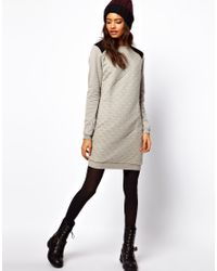 ASOS Collection - Gray Sweat Dress in Quilted Jersey - Lyst