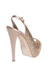 Gina   Natural 125mm Asha Satin and Crystals Sandals   Lyst