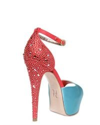 Gina - Blue 140mm Destiny Satin and Linen Sandals - Lyst
