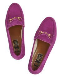 Gucci | Purple Horsebitdetailed Suede Loafers | Lyst