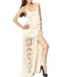 Jay Ahr | Beige Lace On Silk Muslin Jersey Long Dress | Lyst