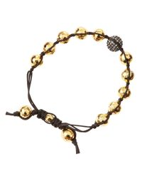 Tai - Brown Golden Hammered Bead Bracelet - Lyst